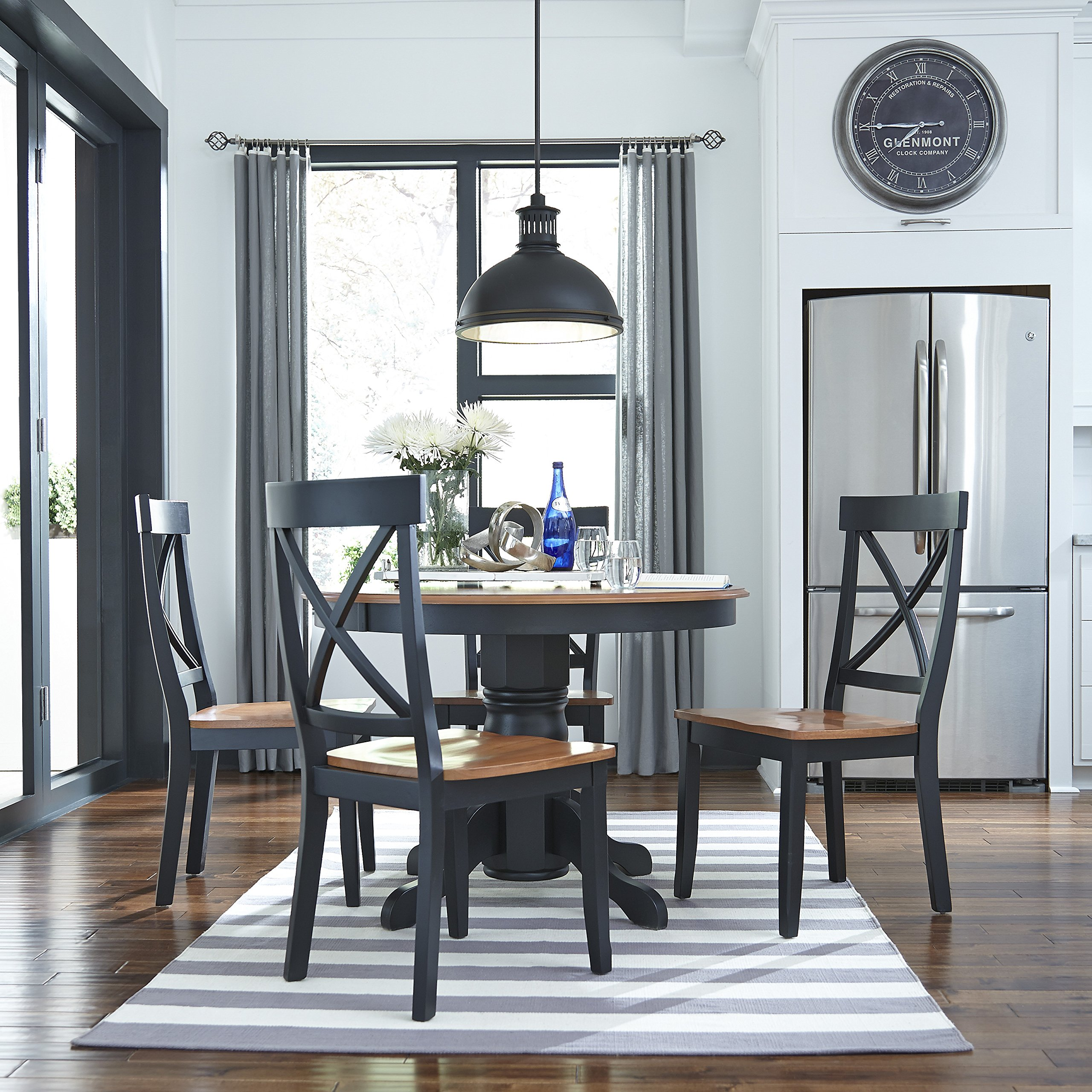Home Styles 5168-30 Round Pedestal Dining Table, Black and Cottage Oak Finish by Home Styles (Image #2)
