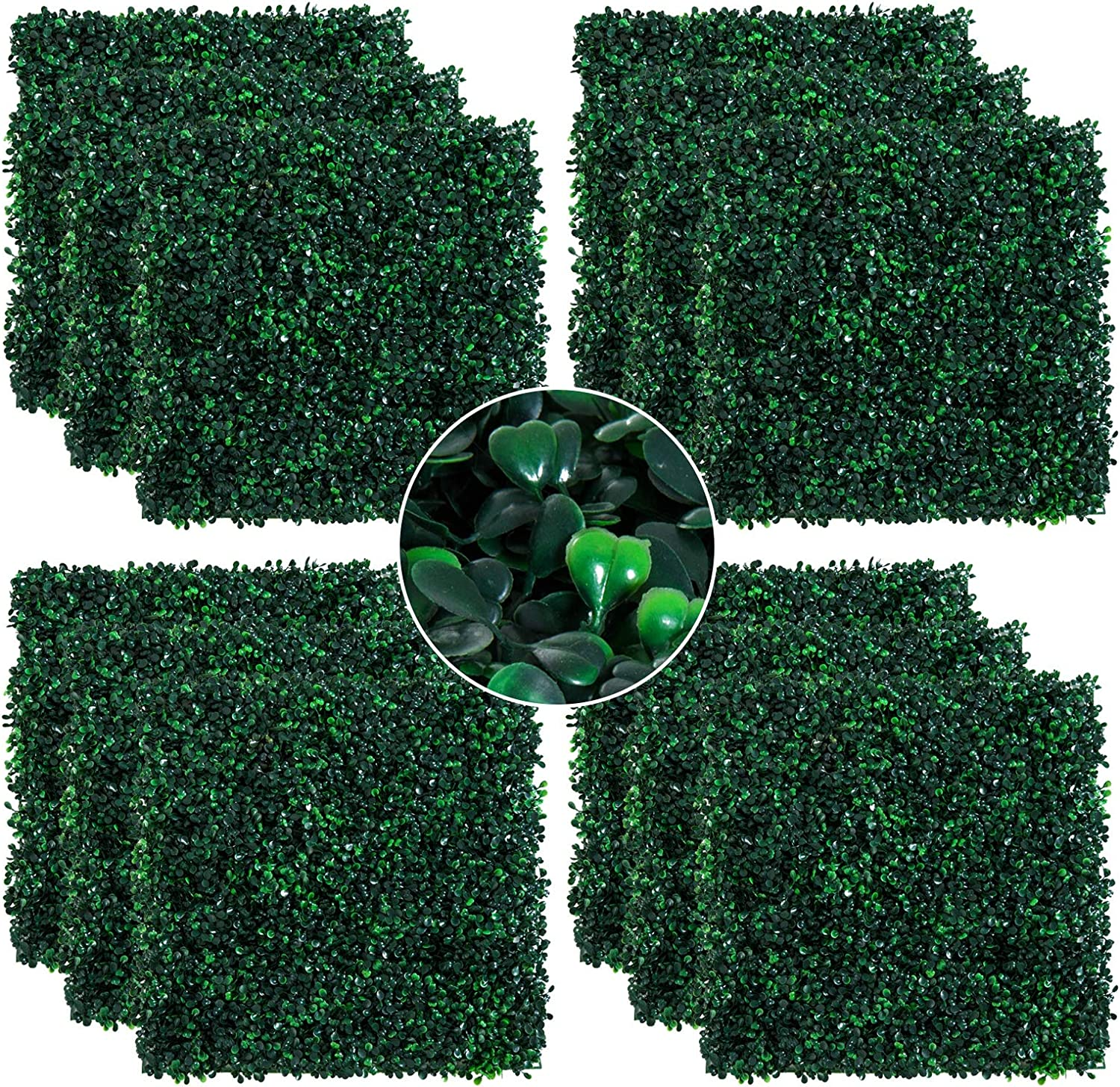 """Outsunny Artificial Boxwood Milan Grass Mat with Grid Back Design, Includes Ties, Set of 12 20"""" x 20"""" Tiles, Dark Green"""