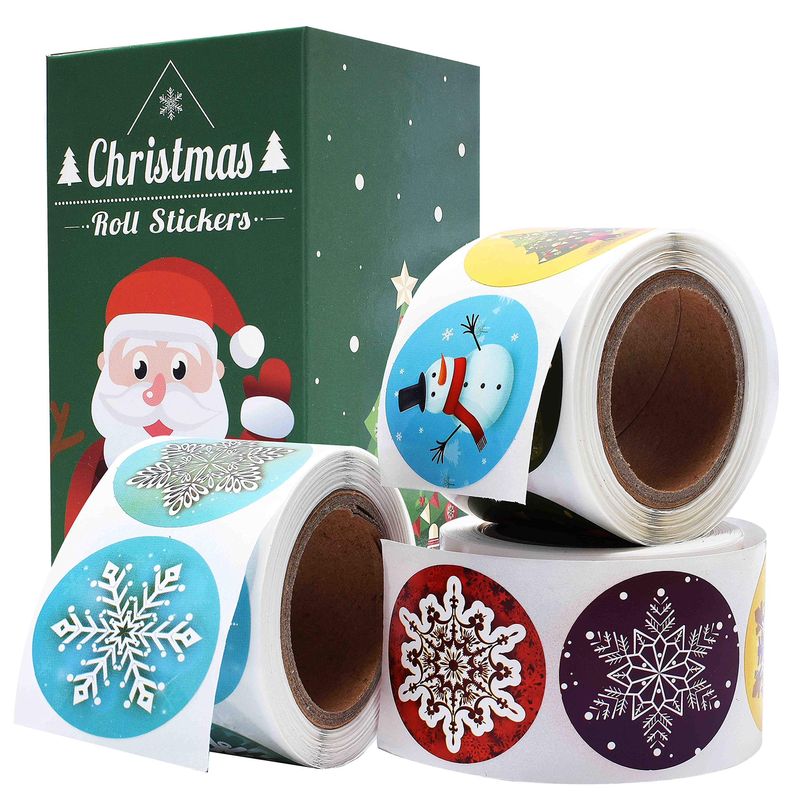 Cualfec Christmas Stickers Roll Winter Holiday Stickers 1.5'' Round - 21 Designs Assortment 630 Stickers by Cualfec