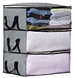 Storage Bag Organizers, Clothing Storage Containers for Clothes, Sweater, Blanket, Comforter, Bedding in Bedroom, Closet, 3 Piece
