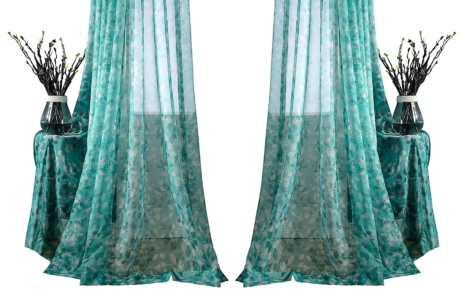 Aside Bside Fashion Style Flowers Printed Sheer Curtains Draperies Rod Pocket Breathable Voile Elegant Home Treatment Living Room Dining Room Kids Room (1 Panel, W 50 x L 63 inch, Teal)