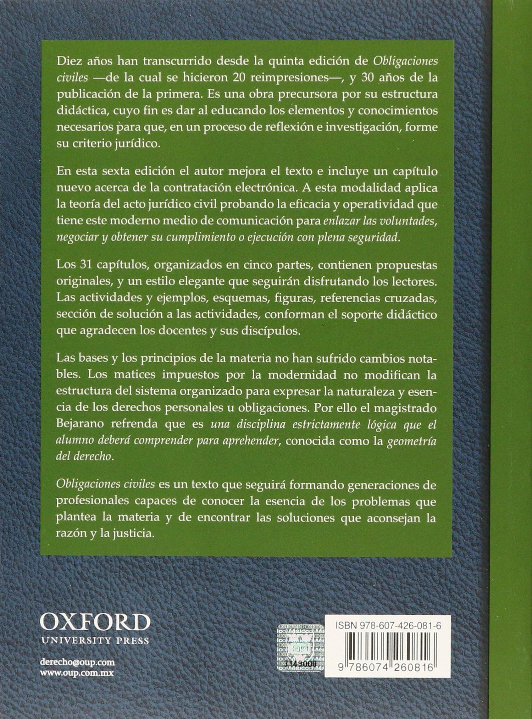 Obligaciones Civiles Bejarano Sanchez M 9786074260816