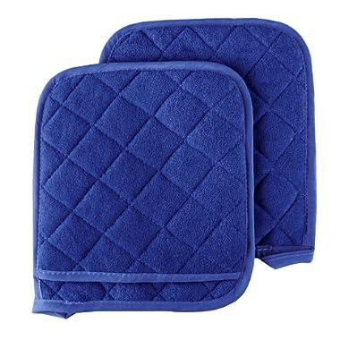 Pot Holder Set, 2 Piece Oversized Heat Resistant Quilted Cotton Pot Holders By Lavish Home (Blue)