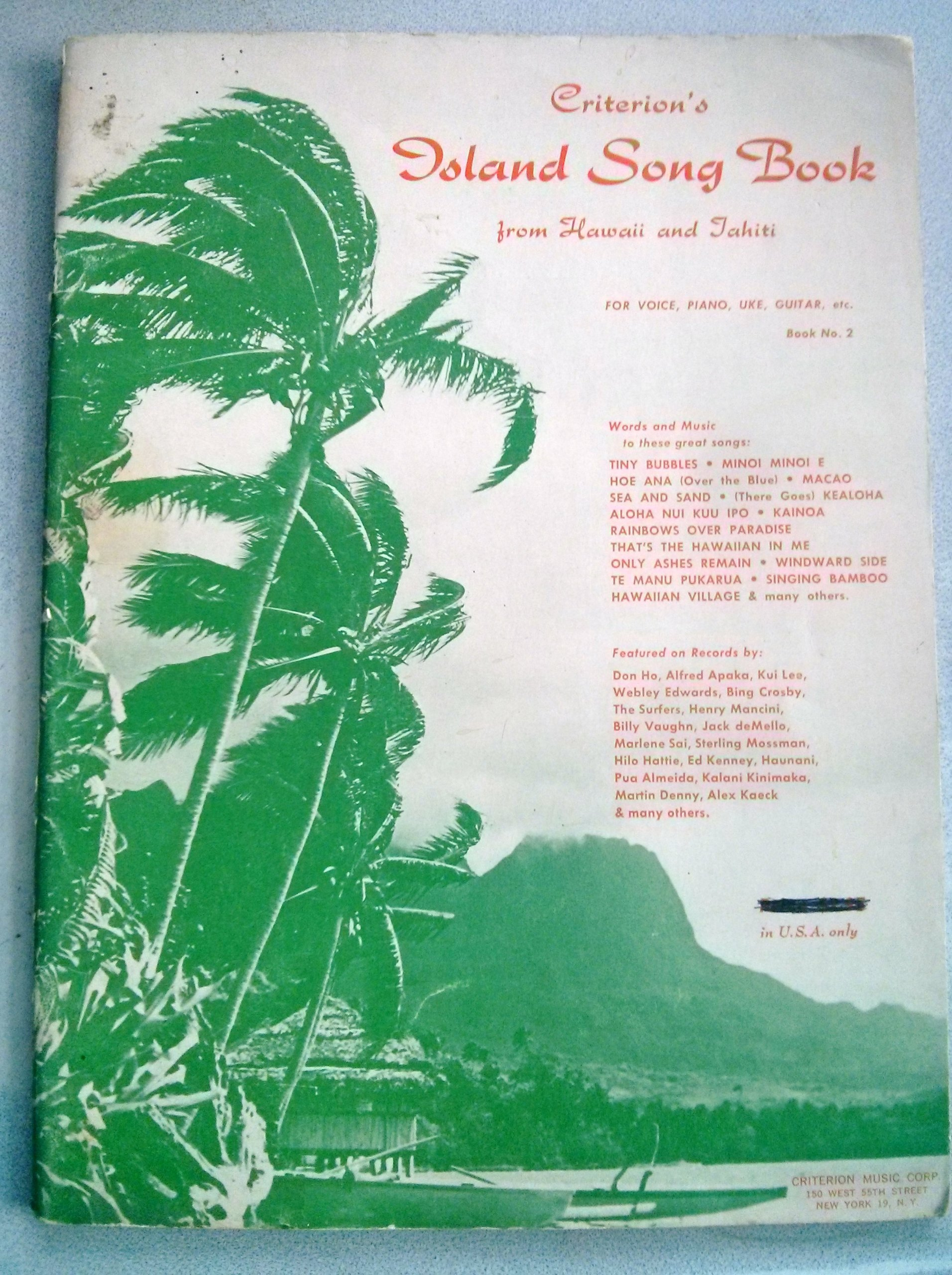 Criterion's Island Song Book  From Hawaii and Tahiti  For