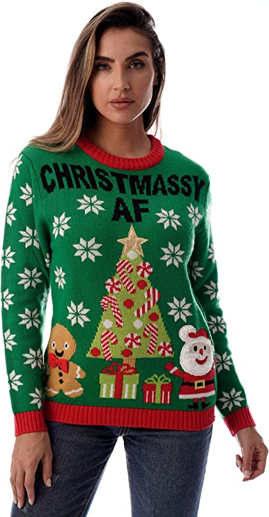 #followme Womens Ugly Christmas Sweater - Funny ugly Christmas Sweater with Santa and Gingerbread man