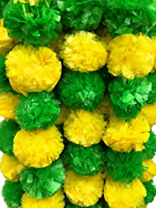DECORATION CRAFT Pack of 5 Artificial Green and Yellow Marigold Flower Garlands 5 Feet Long for Parties Indian Weddings Indian Theme Decorations Home Decoration Photo Prop Diwali Indian Festival
