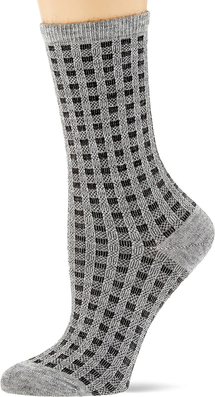 ESPRIT Damen Socken Checks Weicher Damenstrumpf mit Karomuster und Komfortbund 1 Paar Gr/ö/ße 35-42 Farben versch Baumwollmischung