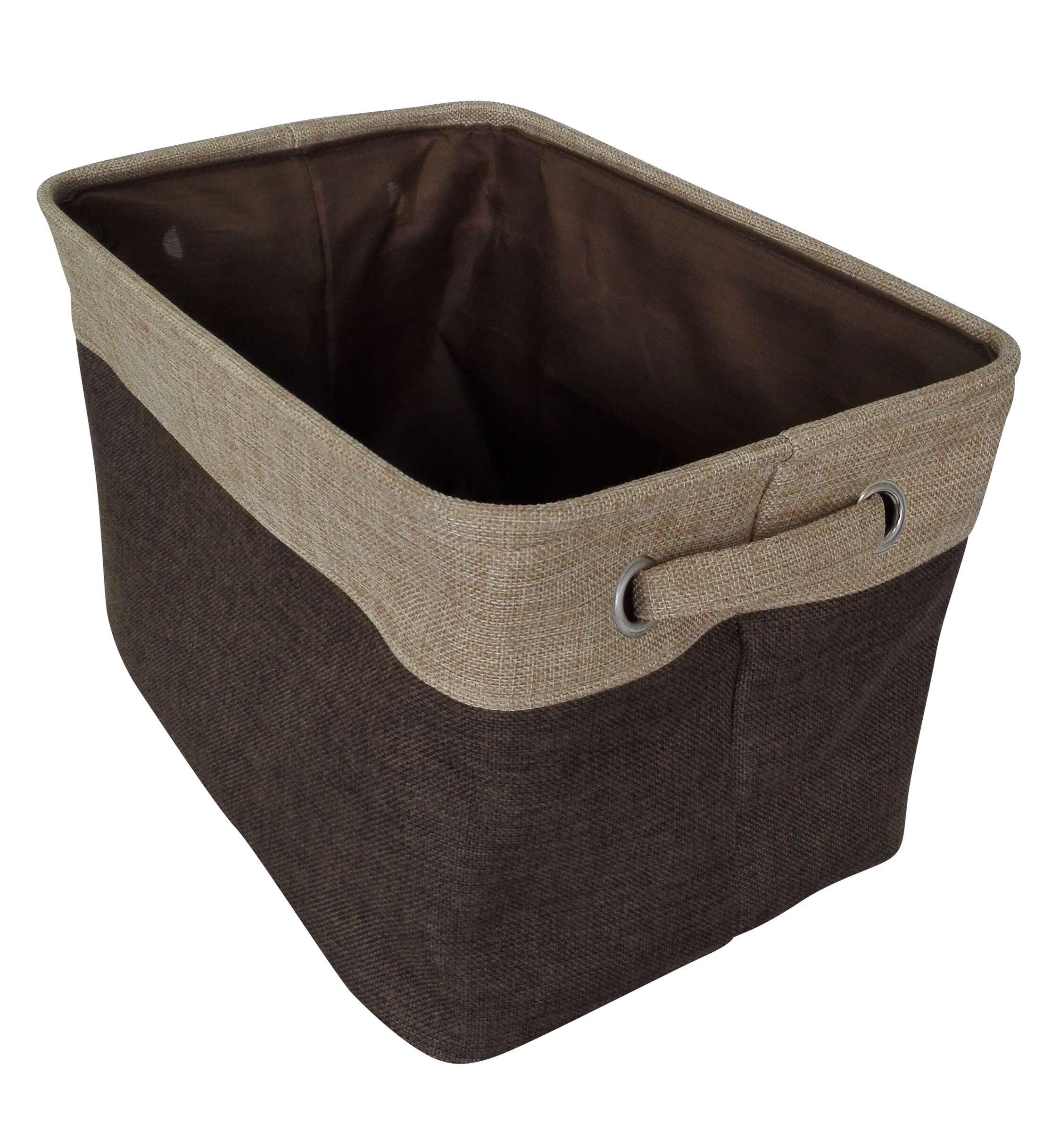 Rectangular Storage Bin Organizer Decorative Collapsible Basket with Handles Toy Storage Kids Basket Baby Bin Home Organizer, Brown by Songsongstore