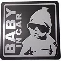 BABY IN CAR 赤ちゃん 乗車中 ( 16cm マグネット ステッカー ブラック )