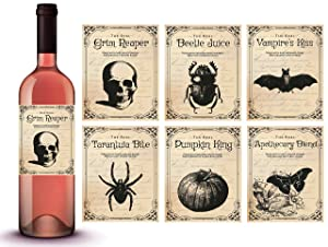Vintage Halloween Decorations | 6 Wine Bottle Stickers | Scary Halloween Party Supplies and Decorations, Photo Props and Party Favors