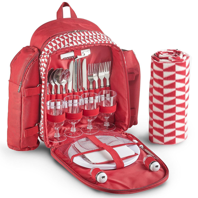 VonShef Geo Picknick-Rucksack rot mit Decke für 4 Personen