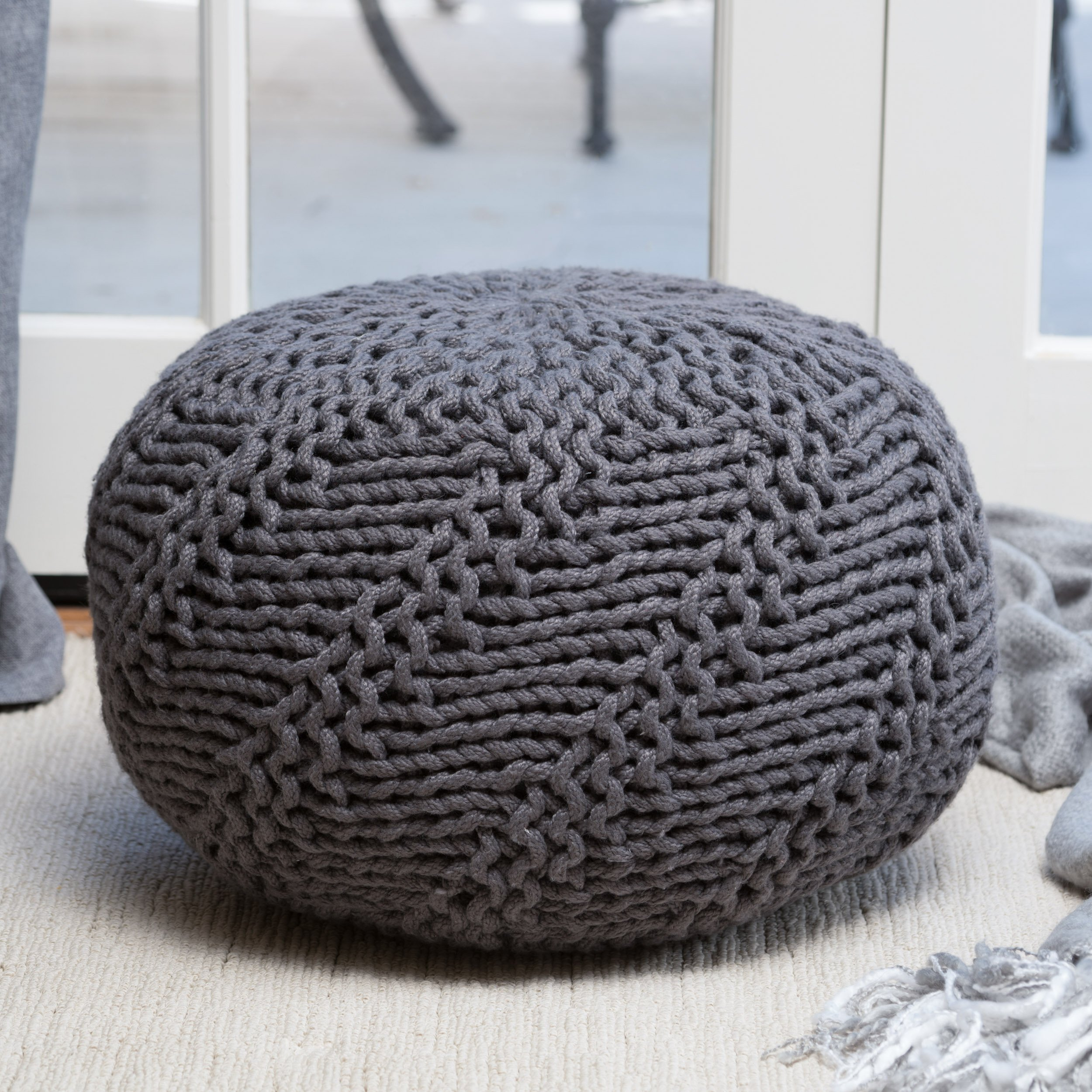Haley Indoor/Outdoor Fabric Weave Pouf (Dark Grey)