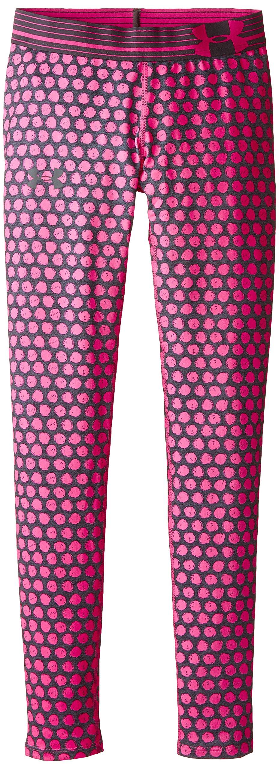 Under Armour Girls' HeatGear Armour Printed Legging, Asphalt Heather /Steel, Youth Medium