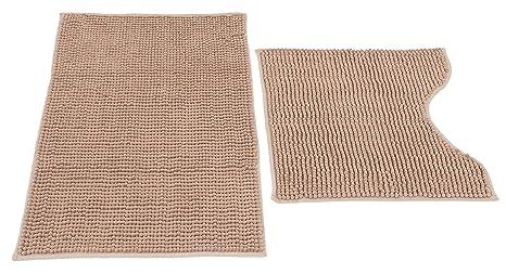 Set di 2 tappeti bagno in microfibra argento 50x80 50x50 cm