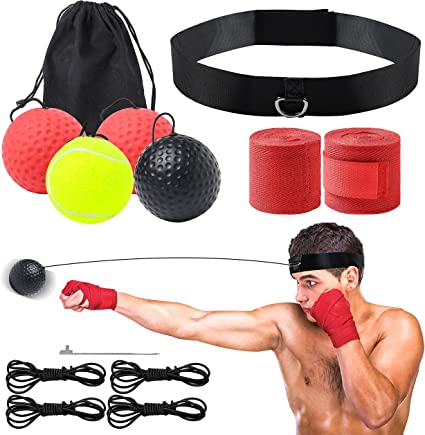 KONUNUS 3 Levels Boxing Reflex Ball Boxing Training Ball with Headband Suit for Reflex Reaction Agility and Hand Eye Coordination Training