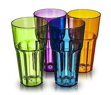 Juego de 4 vasos LIVIVO® de plástico acrílico con diseño de espiral, incluye cuatro