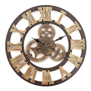 F.G.Y Horloge Murale Geante, Silencieuse Pendule Murales Originale en Bois  Industriel Decoration Maison (Cuivre 1af26608d348