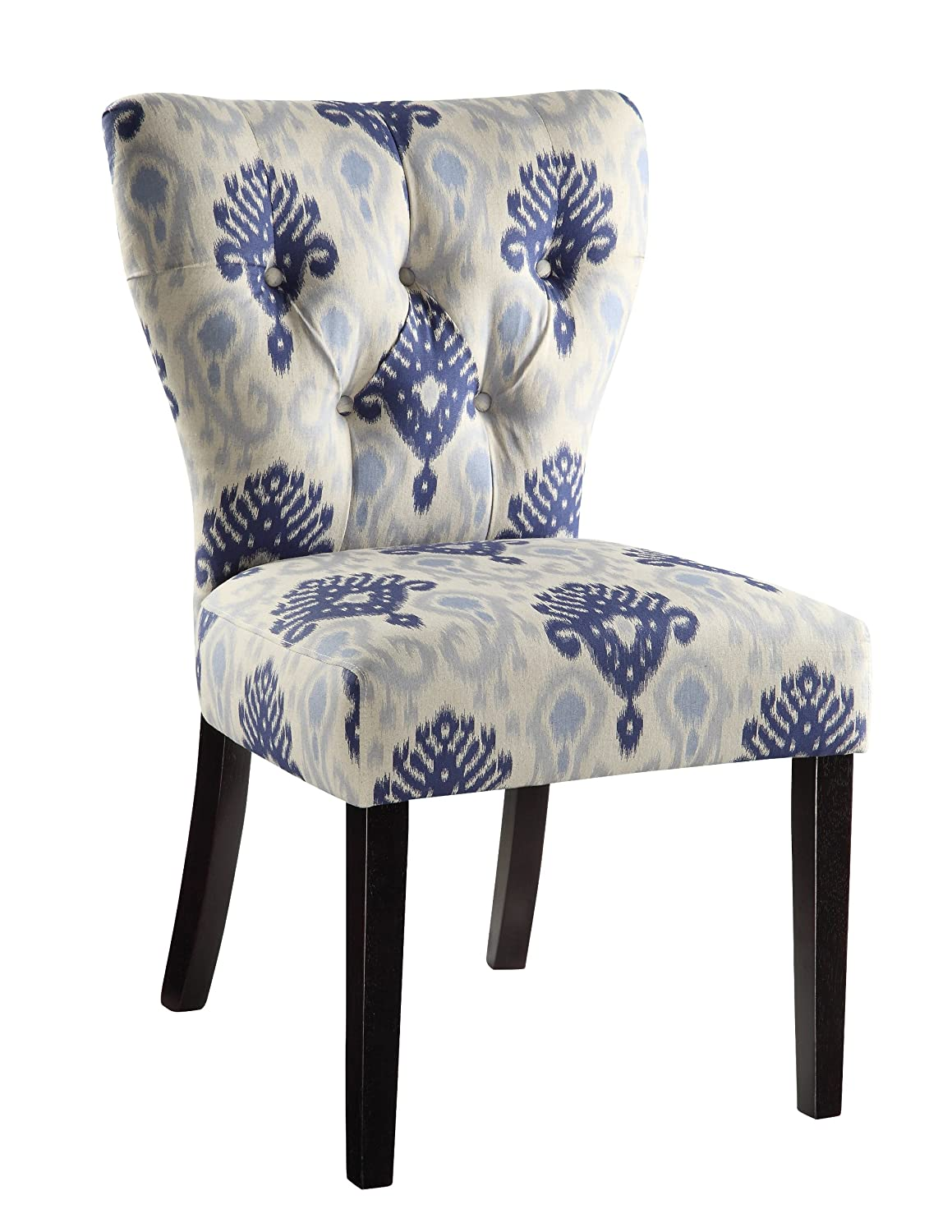 Amazon.com: AVE SIX Andrew Upholstered Armless Accent Chair With Wood Legs,  Medallion Ikat Blue: Kitchen U0026 Dining