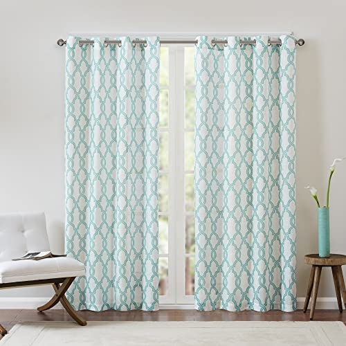 Madison Park MP40-2758 Living Room, Contemporary Grommet Bedroom, Bond Print Modern Linen Window Curtains, 50X63, 1-Panel Pack, Aqua Beige