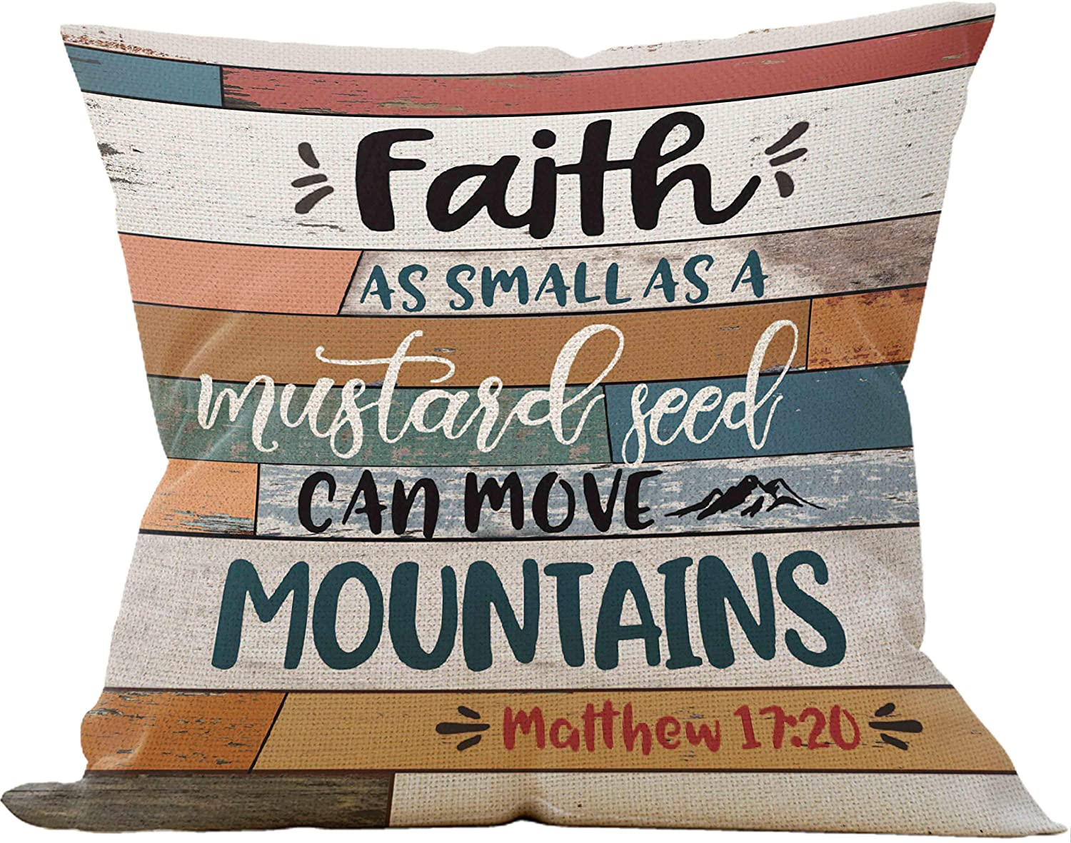 Faith As Small As a Mustard Seed, Can Move Mountains Throw Pillow Case, Christian Decor, Christian Gift, 18 x 18 Inch Scripture Art Decorative Linen Cushion Cover for Sofa Couch Bed, Matthew 17:20