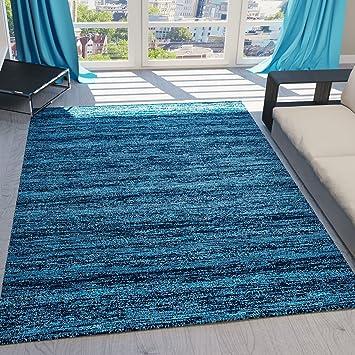 Teppich Kurzflor Wohnzimmer Meliert Mehrfarbig Beige Braun Turkis