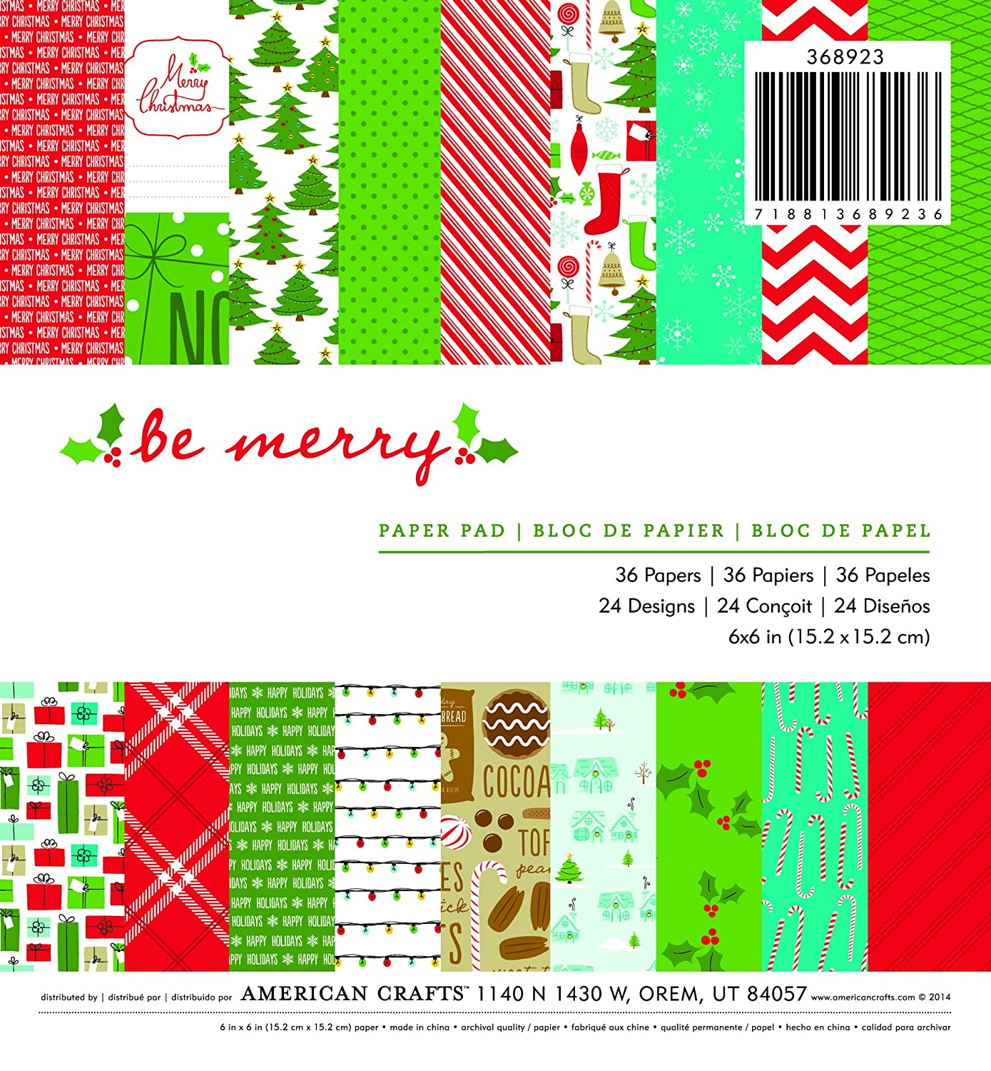 American Crafts-Pad 6x 6 3Be con scritta Merry Christmas 98368