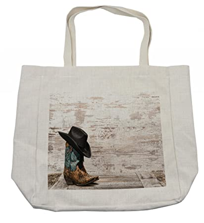 b7f6f43890ac Amazon.com - Ambesonne Western Shopping Bag, Traditional Rodeo ...