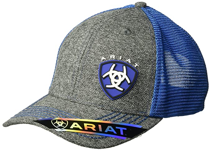 ARIAT Men s Gray Heather Blue Shine Mesh Snap Back Hat 7ccd27765517
