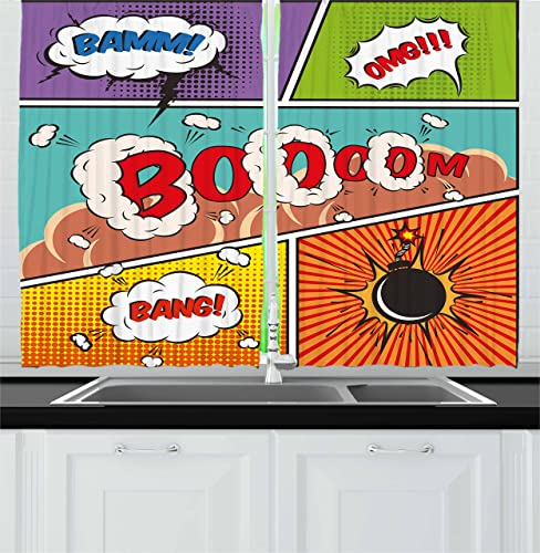 Ambesonne Superhero Kitchen Curtains, Retro Comic Strip Speech Bubbles Funny Pop Art Vintage Hobby Style Image, Window Drapes 2 Panel Set for Kitchen Cafe Decor, 55 X 39 , Multicolor