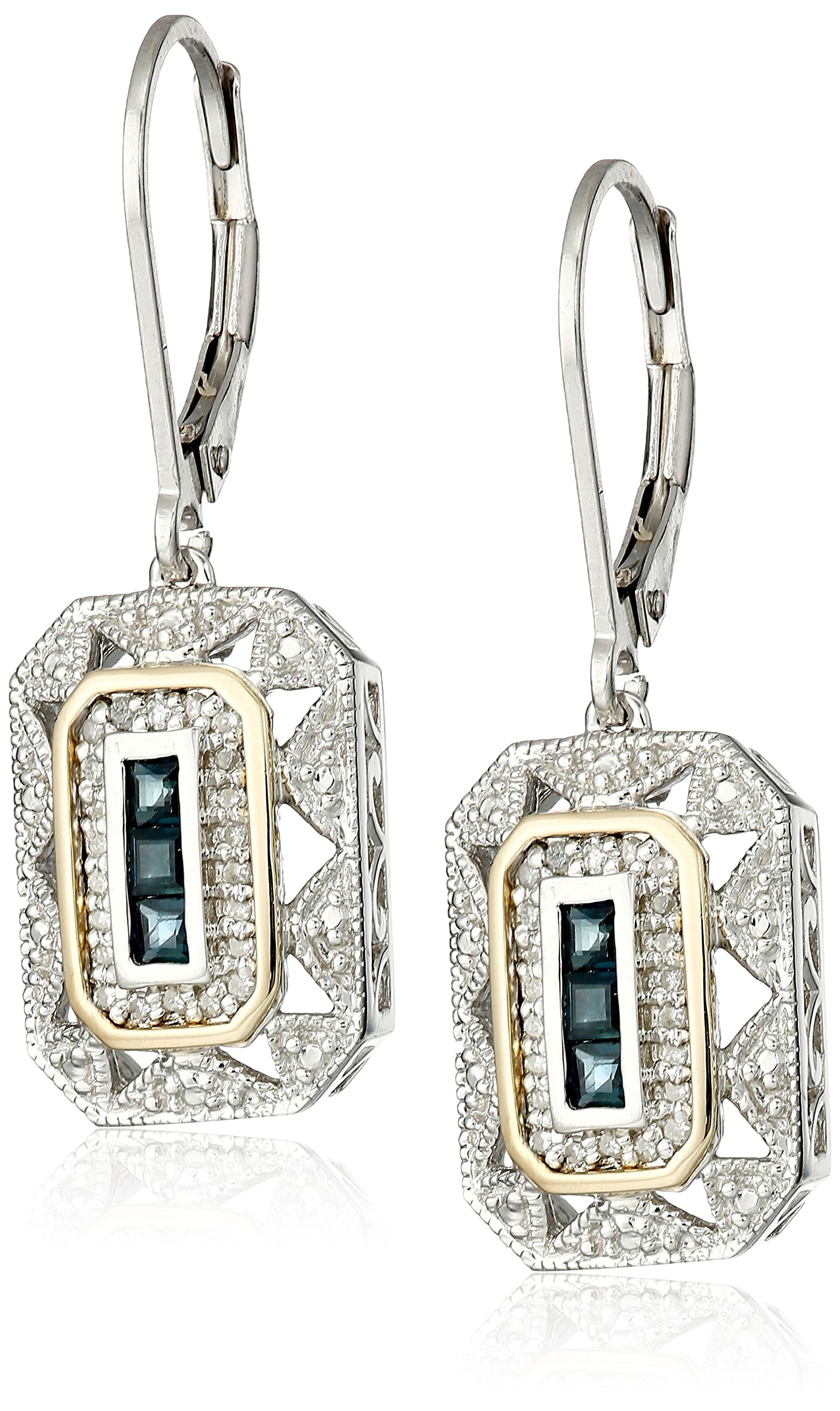 Sterling Silver and 14k Yellow Gold Blue Sapphire  with Diamond-Accent Art Deco-Style Drop Earrings (0.12 cttw, I-J Color, I3 Clarity) by Amazon Collection