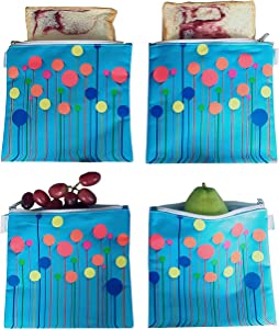 Reusable Snack Bags Sandwich bags Washable Food Safe BPA-free Lead-Free PVC-Free 4 Pack