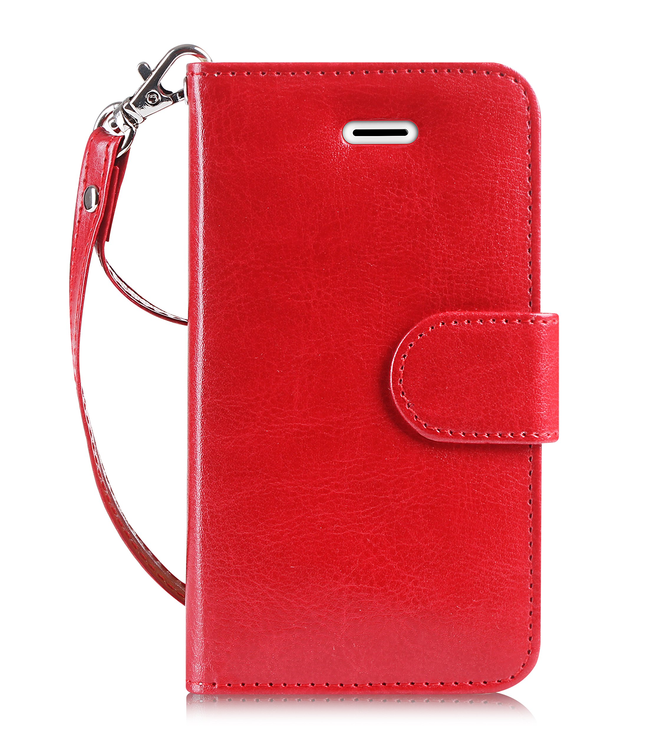 FYY Case for iPhone SE/iPhone 5S Case, [Kickstand Feature] Flip Folio Leather Wallet Case with ID and Credit Card Pockets for Apple iPhone/5S/5/5C Red