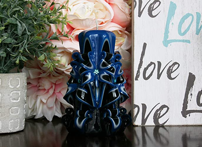 Scented Carved Magic Candles Blue Black White Pillar Pink Lilac Fresh Cut Rose Bahama Fizz Blood
