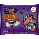 Hershey Halloween Candy Assortment, HERSHEY'S Milk Chocolate, REESE'S Peanut Butter Cups, HERSHEY'S Cookies 'n Crème Candy, 25.05 Ounce Bag (50 Pieces)