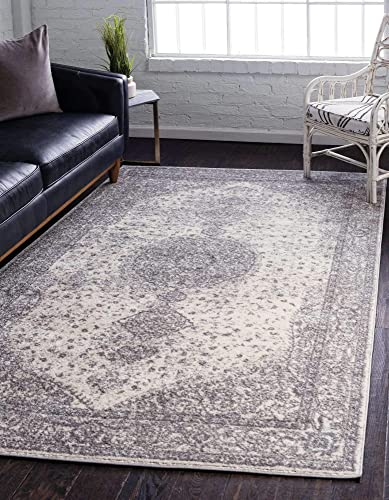 Unique Loom Bromley Collection Vintage Traditional Medallion Border Gray Area Rug 9' 0 x 12' 0