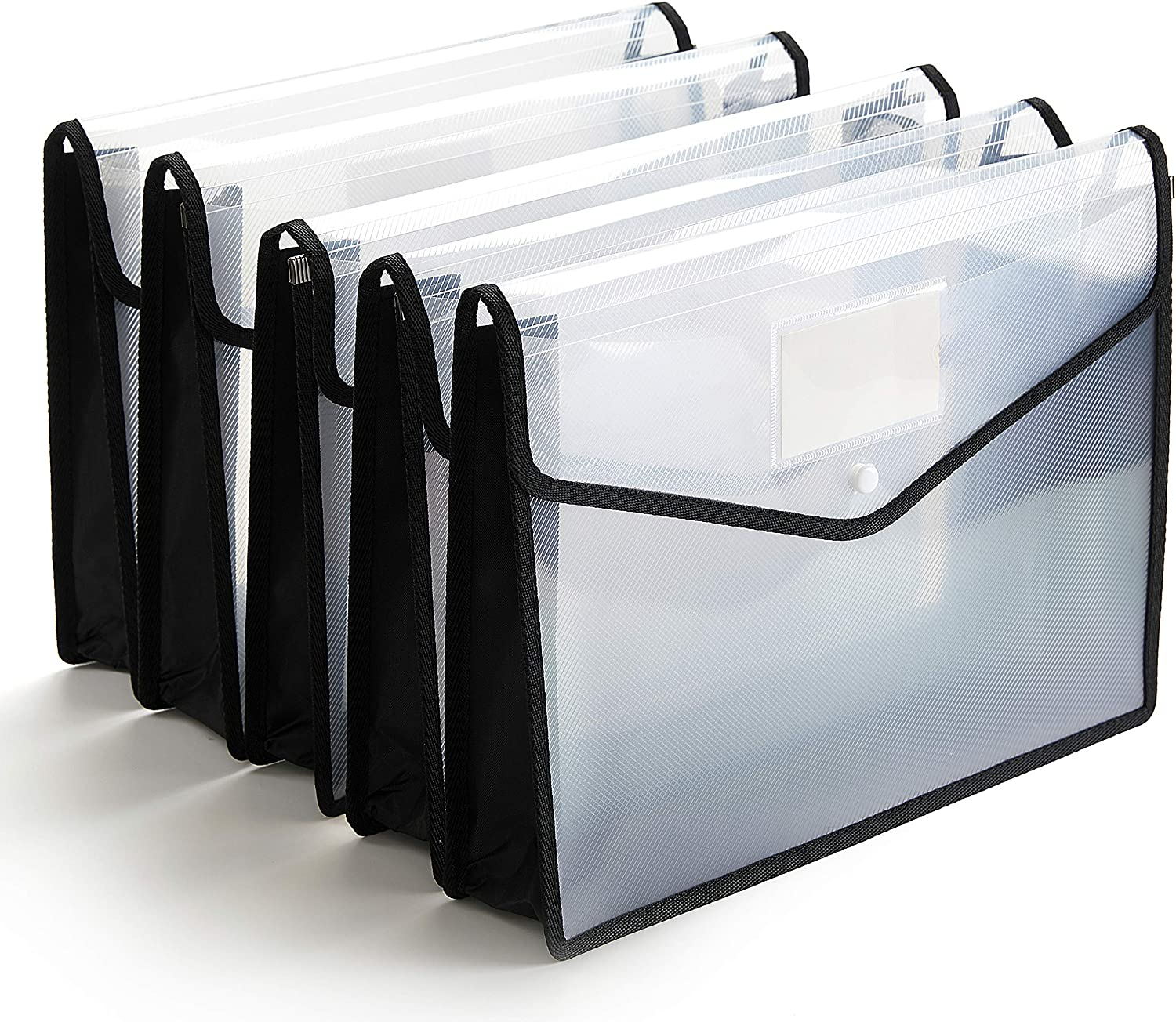 FANWU Plastic File Folder Poly Envelope Expanding File Wallet Document Folder with Snap Button Closure, Legal Size, 5 Pack Large Waterproof Accordion File Pouch (Transparent&Black)