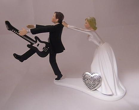 Amazon.com: Wedding reception Funny Cake Topper Custom Rock & Roll ...