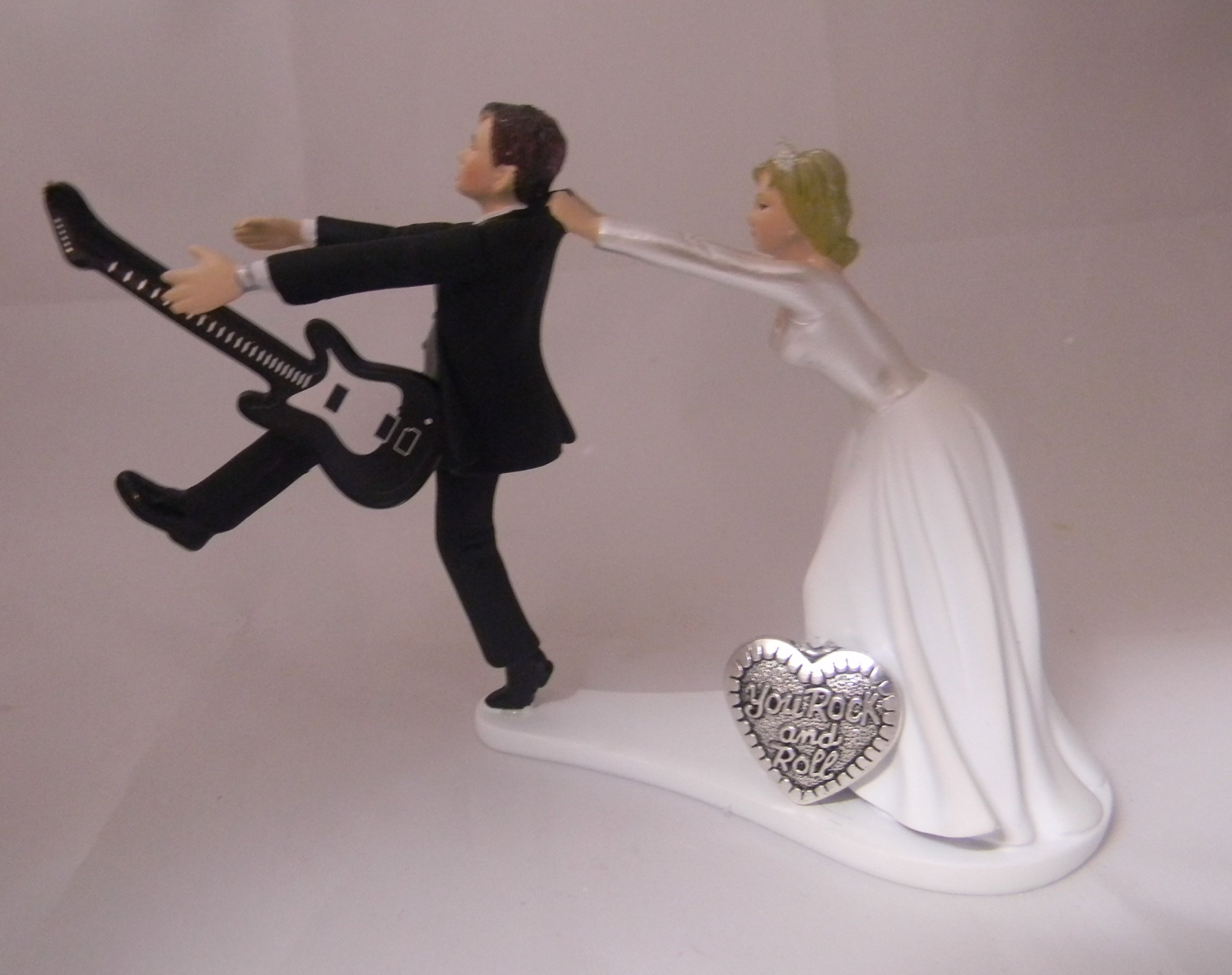 Wedding reception Funny Cake Topper Custom Rock & Roll Guitar Music Band