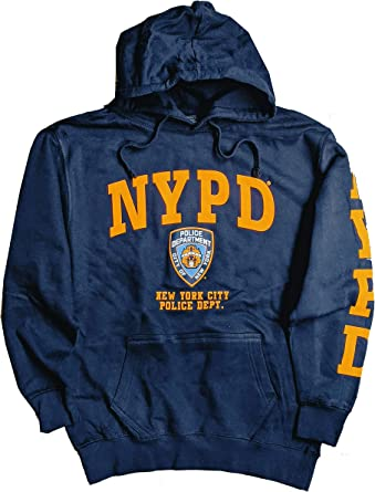 NYC FACTORY NYPD Hoodie Yellow Sleeve Print Sweatshirt Navy Blue