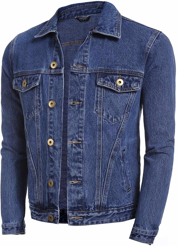 stile classico Giacca di jeans da uomo Coofandy con bottoni