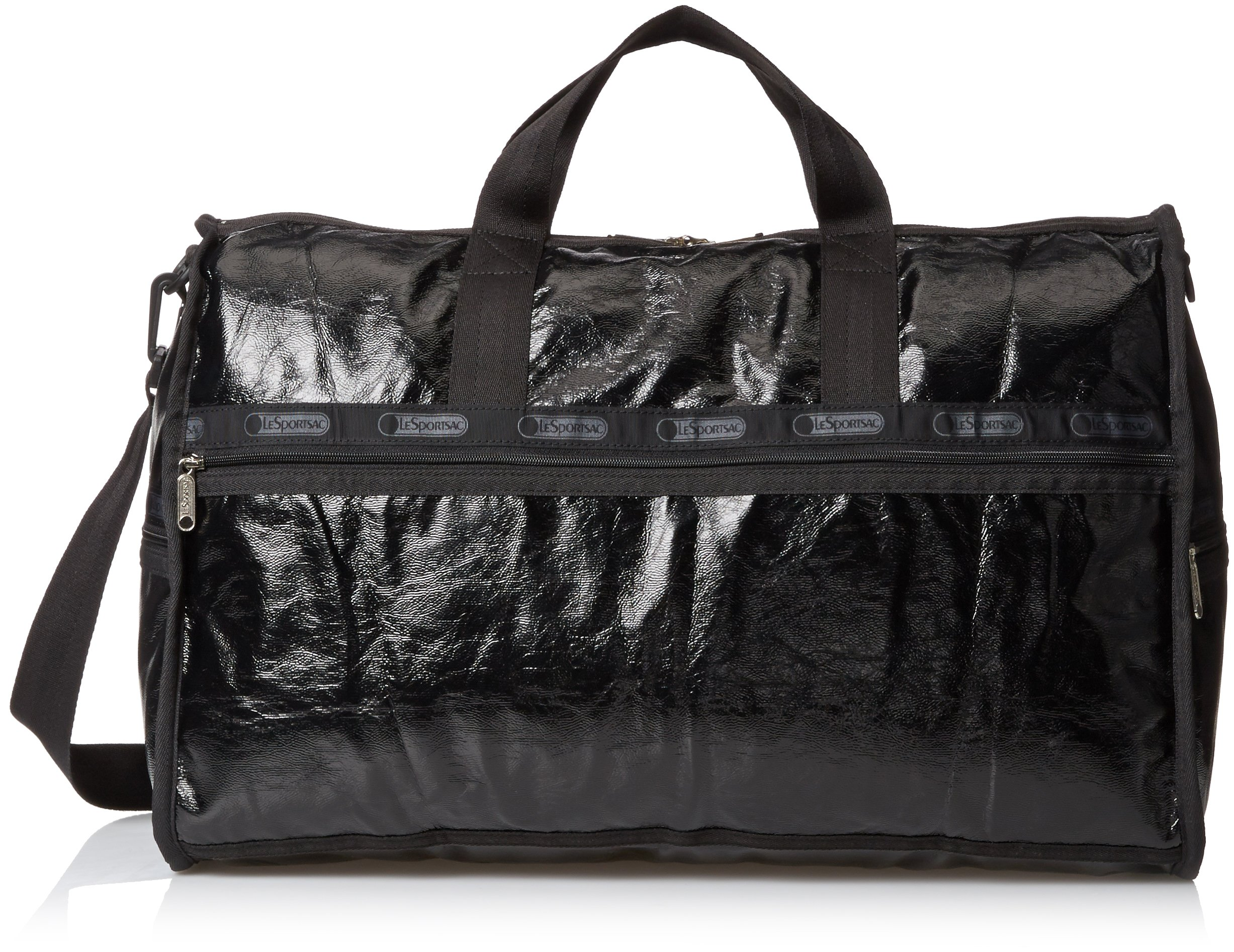 LeSportsac Large Weekender Bag, Black Crinkle Patent, One Size