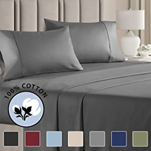 100% Cotton Full Sheets Dark Grey (4pc) Silky Smooth, Cooling 400 Thread Count Long Staple Combed Cotton Full Sheet Set – 400TC High Thread Count Full Sheets - Full Bed Sheets All Cotton 100% Cotton