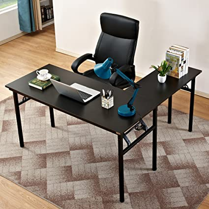 Enjoyable Need 55 Inches X 55 Inches L Shaped Folding Computer Desk One Step Assembly Large L Desk Home Office Desk Workstation Desk Black Ac11Cb Home Interior And Landscaping Ferensignezvosmurscom
