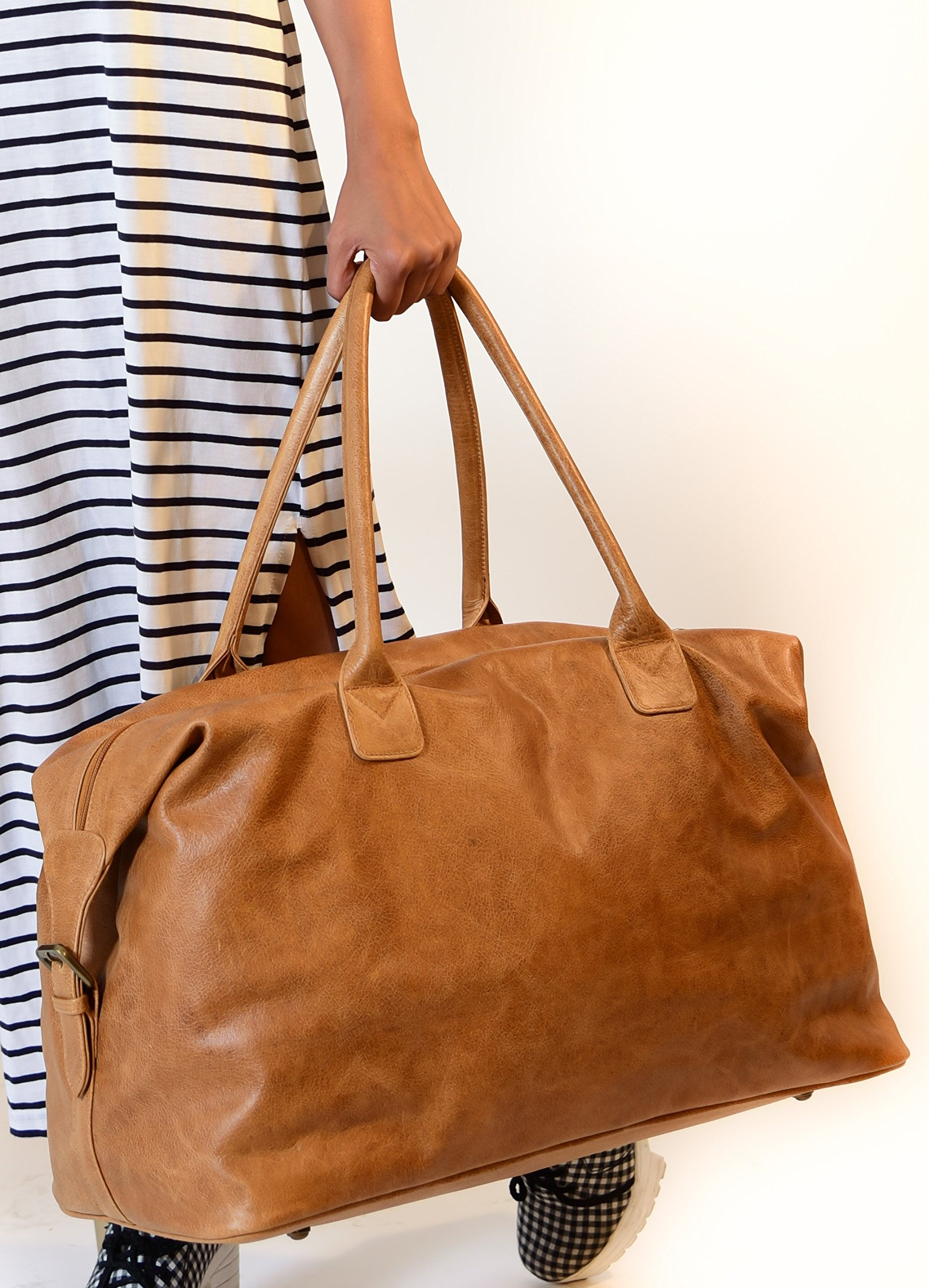 The Aartisan 21'' Handcrafted Genuine Leather Duffel Bag for Men Travel Weekend Bag (Chestnut), Free Gift Included, Multi Purpose Use by THE AARTISAN (Image #5)