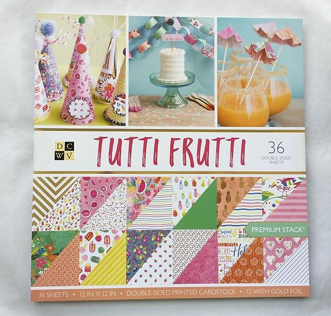 DCWV 12 x 12 Cardstock Paper Tutti Frutti 36 Sheets