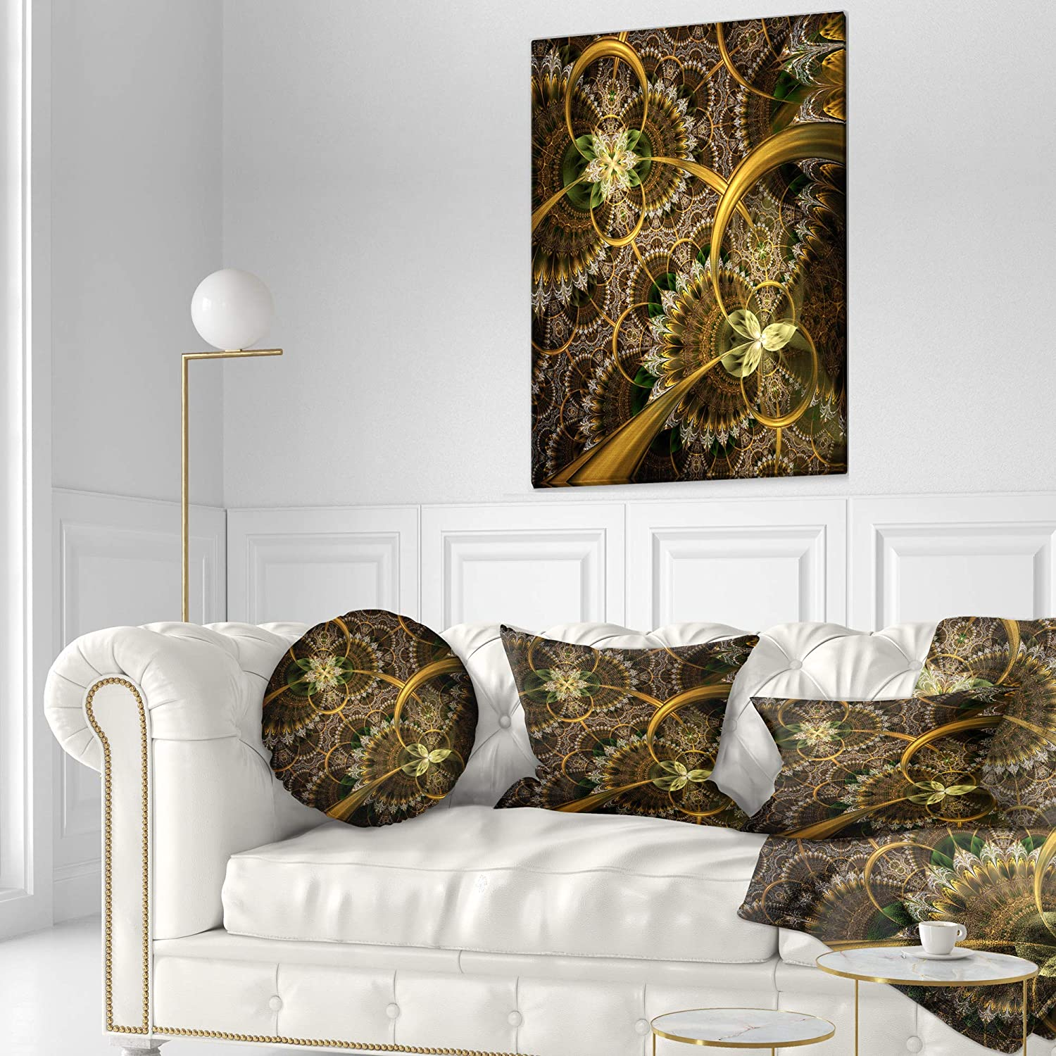 Designart CU11862-12-20 Dark Green Gold Digital Art Fractal Flower Floral Lumbar Cushion Cover for Living Room in Sofa Throw Pillow 12 in x 20 in