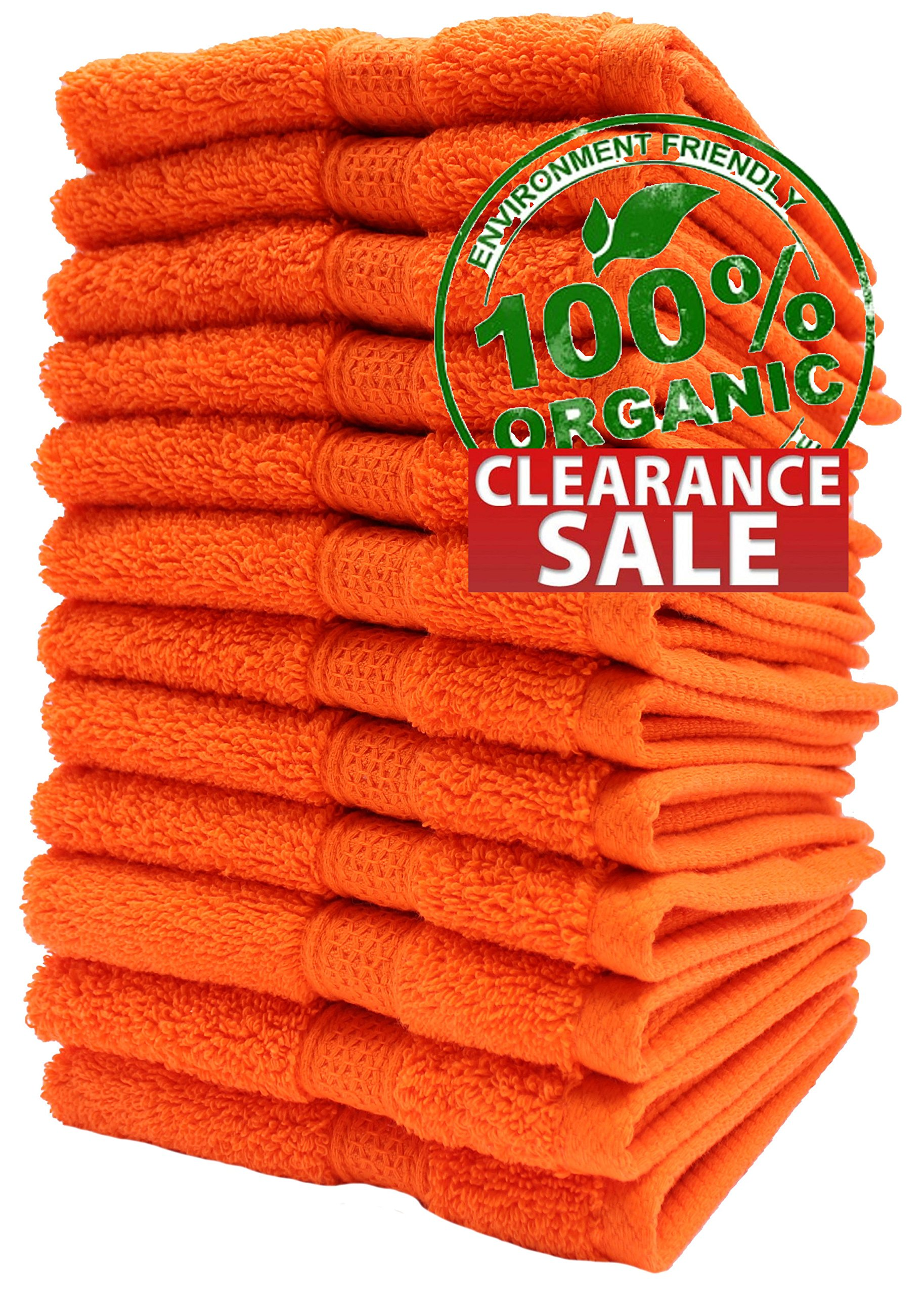 100% Organic Turkish Cotton Premium Quality Luxury Hotel & Spa Turkish Towels Super Soft, Plush, Ultra Absorbent, Quick dry, long lasting HUGE SALE!>>(Tangerine Orange, Washcloth - Set of 12) by Aspendos Linen