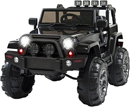 Amazon Com Best Choice Products 12v Ride On Car Truck W Remote Control 3 Speeds Spring Suspension Led Light Black Toys Games