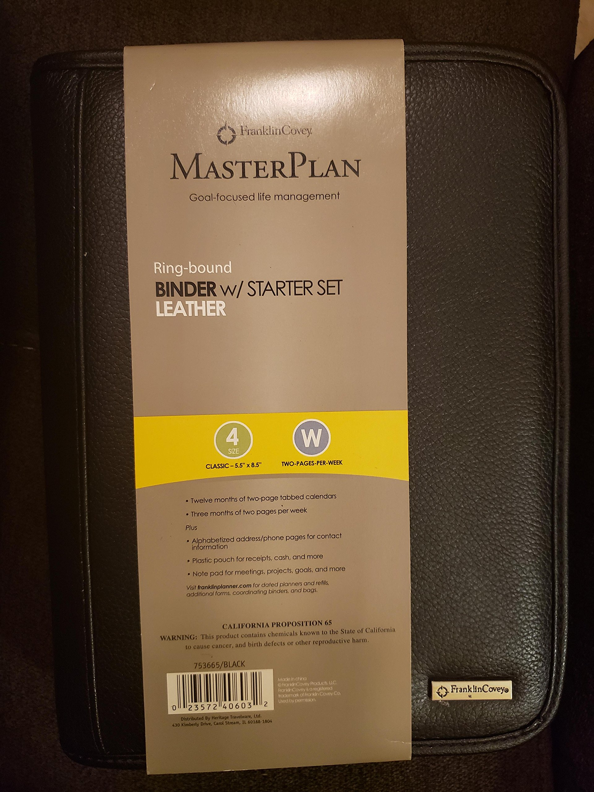 Franklin Covey Classic Size Secure Zip-Around 7-Ring Planner / Agenda (Black)