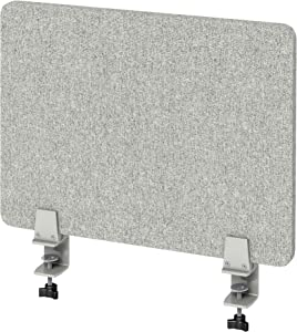"""VaRoom Acoustic Desktop Privacy Divider, 23""""W x 18""""H Sound Absorbing Clamp-on Cubicle Desk Divider Partition Panel in Light Grey Tackable Fabric"""
